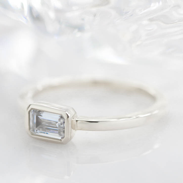 Unique Emerald Cut Engagement Ring Moissanite Ring - Ella - Moissanite Rings