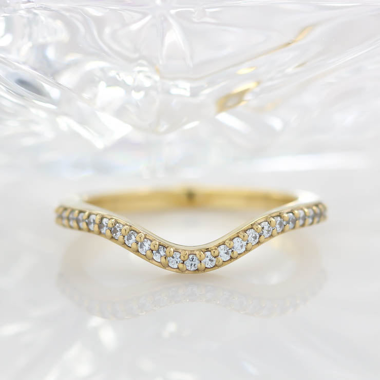 Curved Diamond Wedding Band Sacking Band Diamond Band - Gia - Moissanite Rings