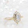 Diamond Halo Oval Moissanite Engagement Ring Bezel Ring Thin Band Ring - Sophia - Moissanite Rings
