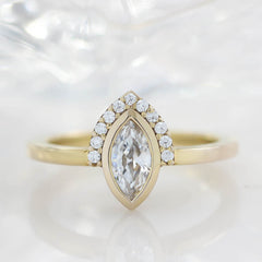 Half Halo Marquise Moissanite Diamond Engagement Ring  Bezel Set Ring Unique Style - Scarlette - Moissanite Rings