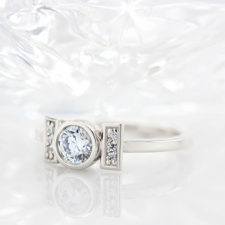 Round Moissanite Engagement Ring Unique Setting Diamond Moissanite Ring - Nora