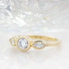 Dainty Three Stone Bezel Set Engagement Ring Diamond Marquise Side Stones Round Moissanite Center Stone Ring - Hazel - Moissanite Rings