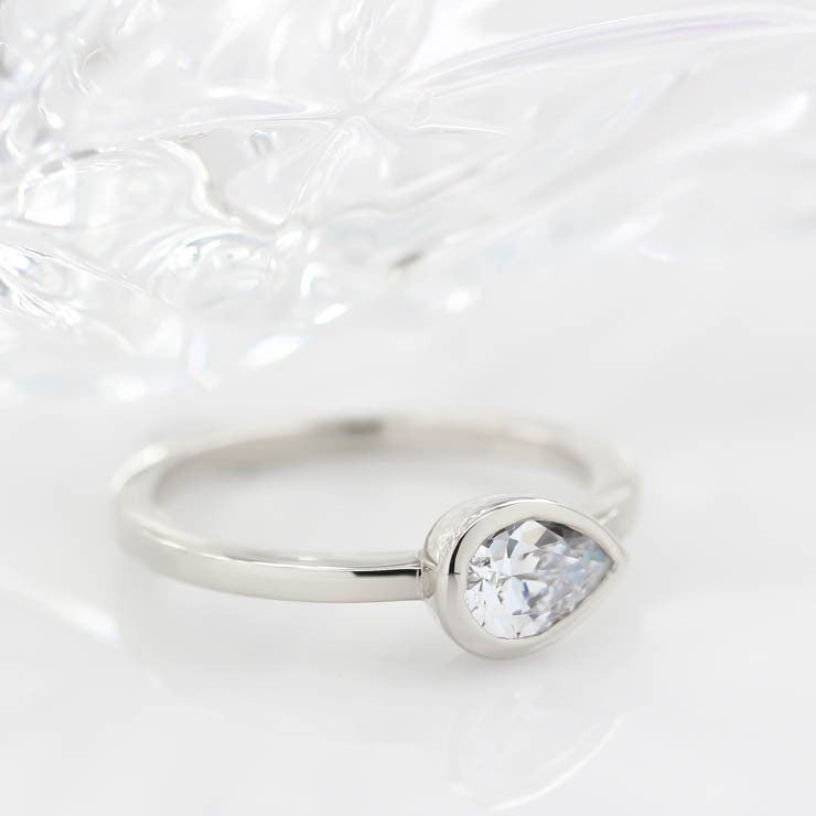Bezel Set Solitaire Engagement Ring Pear Moissanite Ring Unique Style Thin Band - Naomi - Moissanite Rings