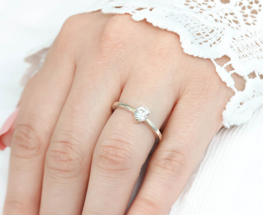 Simple Solitaire Engagement Ring Half Bezel Single Prong Moissanite Engagement Ring - Clara - Moissanite Rings