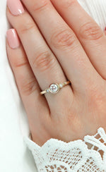 Dainty Round Bezel Set Three Stone Engagement Ring Diamond Setting Moissanite Center Stone - Lucy - Moissanite Rings