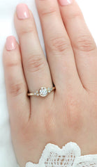 Bezel Set Diamond Setting Moissanite Center Engagement Ring - Audrey - Moissanite Rings