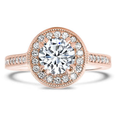 Diamond Halo Engagement Ring Setting Forever One Moissanite Engagement Ring - Clementine - Moissanite Rings