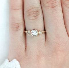Round Moissanite Engagement Ring Diamond Side Stones Thin Band Setting - Alice - Moissanite Rings