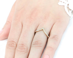Chevron Diamond Wedding Band Thin Diamond Band Stacking Ring Matching Band - Ava Band - Moissanite Rings