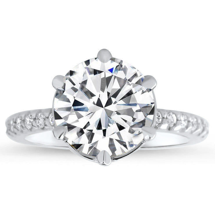 Six Prong Forever One Moissanite Center Engagement Ring Diamond Setting - Liberty - Moissanite Rings