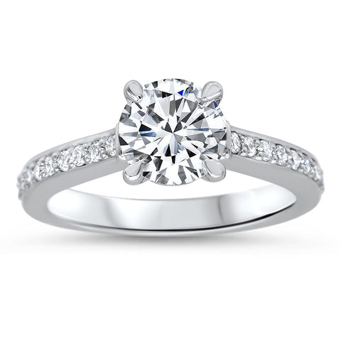 1.5 ct Moissanite Center Stone Diamond Setting Engagement Ring - Barb - Moissanite Rings