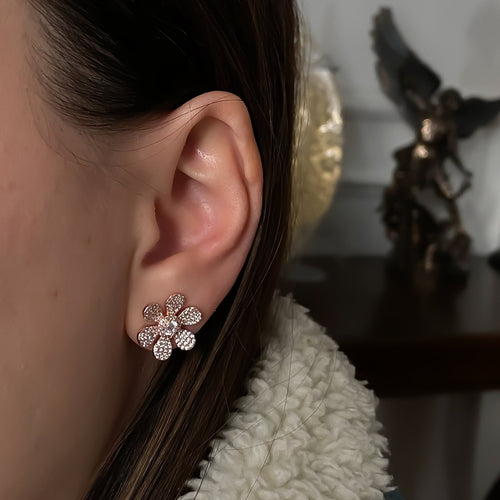 Large Flower Pave Earrings