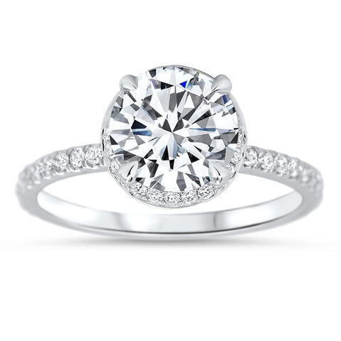 8 mm Moissanite Engagement Ring Hidden Halo Diamond Micro Pave Setting - Fire - Moissanite Rings