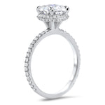 8mm Moissanite Engagement Ring Hidden Halo Diamond Micro Pave Setting and Wedding Band - Fire Set - Moissanite Rings