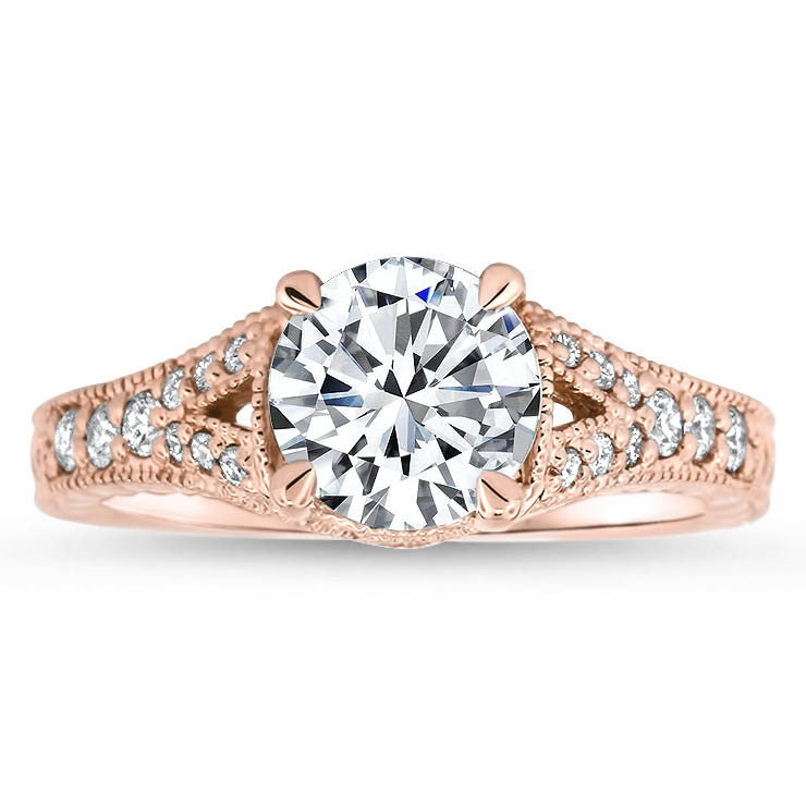 Split Shank Engagement Ring Diamond Setting Moissanite Center - Katherine