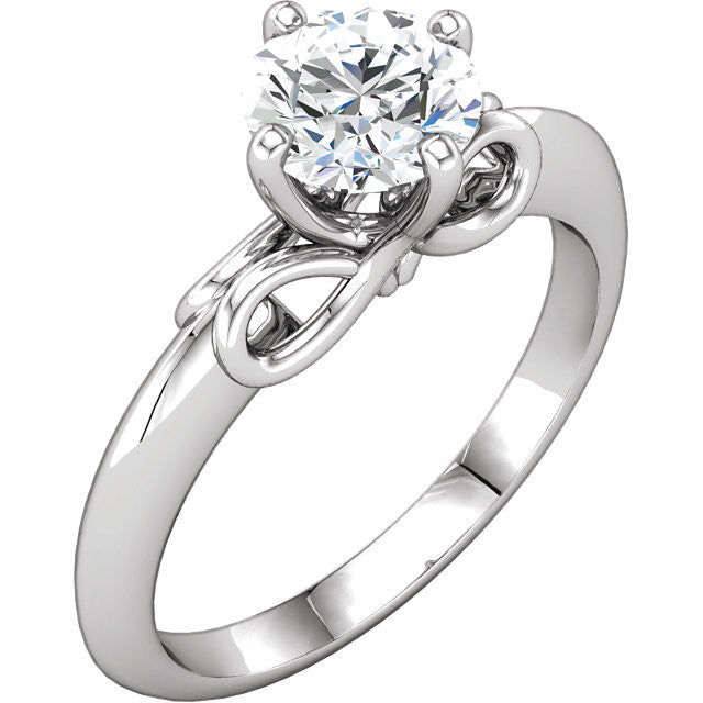 Infinity Style Solitaire Moissanite Engagement Ring - Moissanite Rings