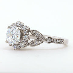 Vintage Floral Style Halo Engagement Ring - Lilly - Moissanite Rings