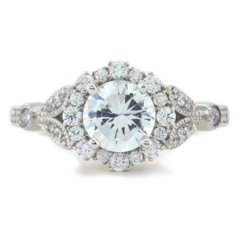 7.5 mm Center Vintage Floral Style Halo Diamond and Moissanite Engagement Ring - Lilly - Moissanite Rings