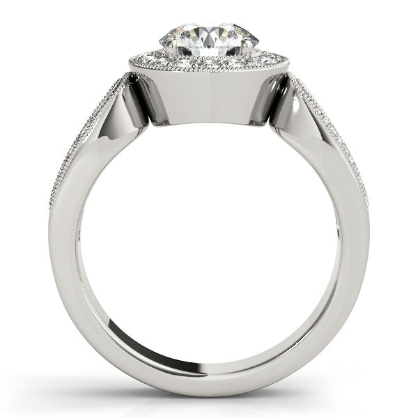 Loop Shank Diamond Halo Ring Moissanite Center - Ina - Moissanite Rings