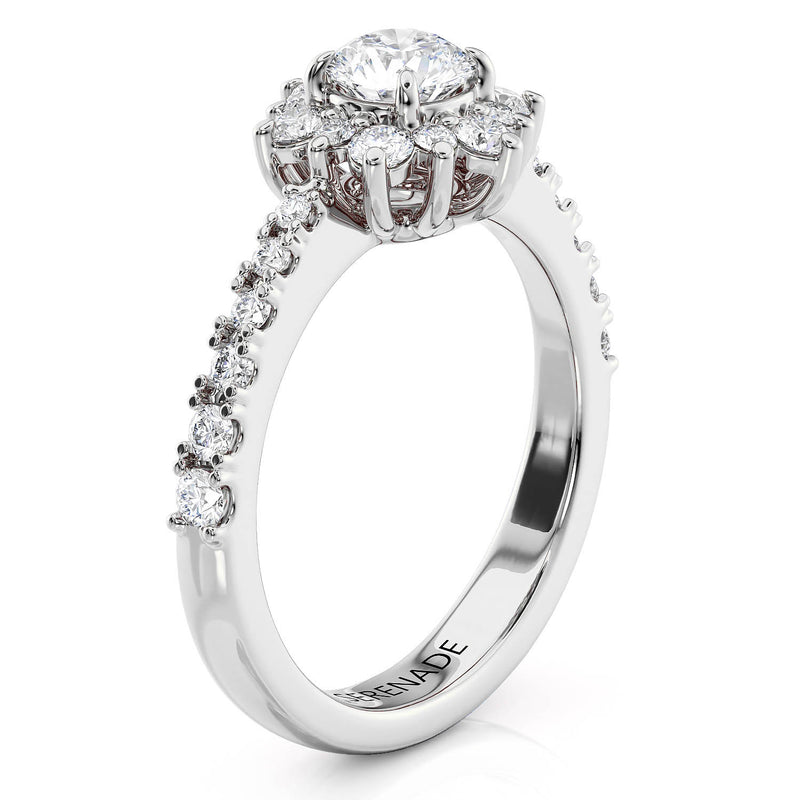 Dainty Diamond Halo Engagement Ring 5 mm Center Stone - Petite Snowflake Diamond Band