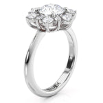 Snowflake Style Engagement Ring Plain Band Diamond Halo Setting Only