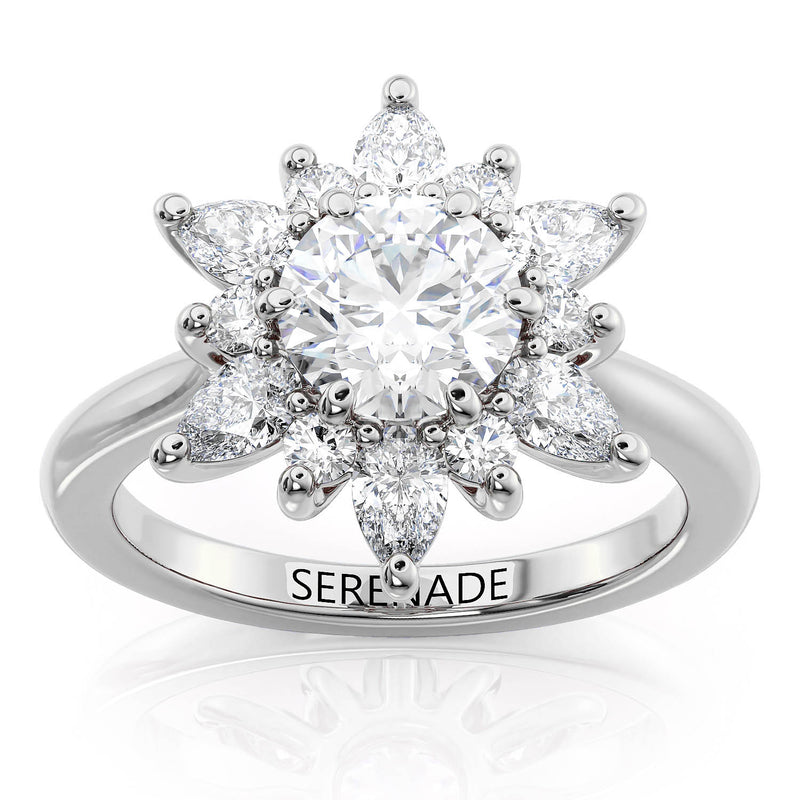 Mixed Cut Snowflake Engagement Ring - Snowflake Marquise