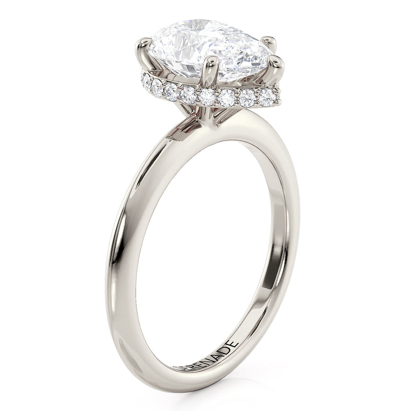 Hidden Halo Engagement Ring Pear Cut Center Stone - Cortana