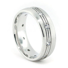 Men's Diamond  Wedding Band - The Ride - Moissanite Rings