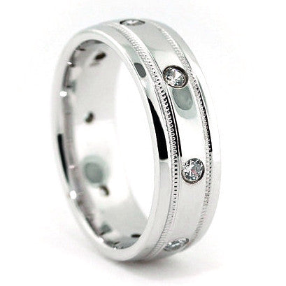 Men's Diamond  Wedding Band - Classic Cool - Moissanite Rings