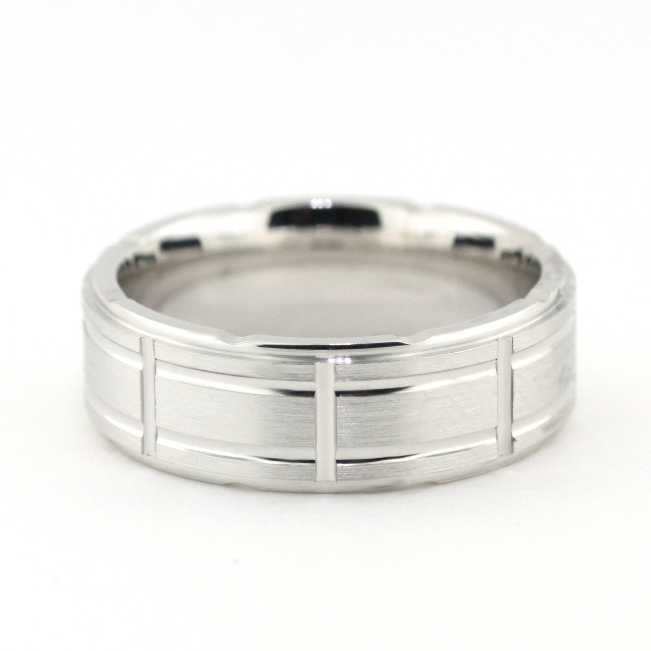 Men's Wedding Band - Fenced - Moissanite Rings