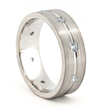 Men's Diamond  Wedding Band - Walk the Line - Moissanite Rings