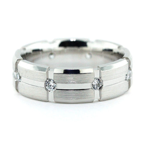 Men's Diamond  Wedding Band - Off the Grid - Moissanite Rings
