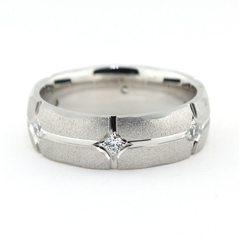 Men's Diamond Wedding Band - Twilight - Moissanite Rings