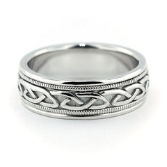 Men's Wedding Band -  Celtic Knot - Moissanite Rings