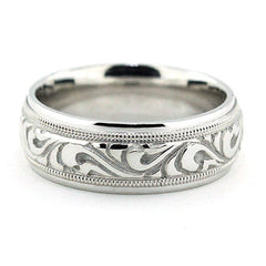 Men's Carved Wedding Band - Paisley - Moissanite Rings