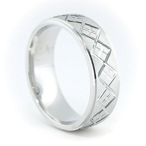 Men's Wedding Band - Preppy - Moissanite Rings