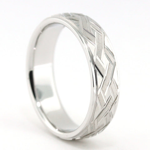 Men's Wedding Band - Zach - Moissanite Rings