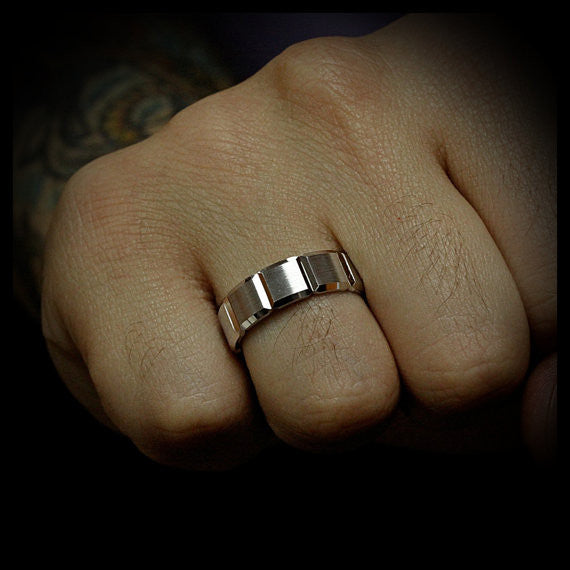 Men's Wedding Band - Squared - Moissanite Rings