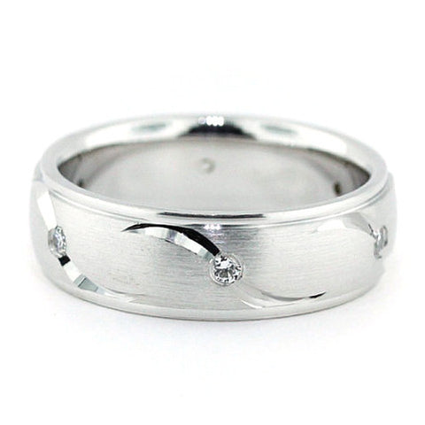 Men's Diamond  Wedding Band Carved Accents - Fly Away With Me - Moissanite Rings