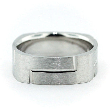 Men's Square Shape Wedding Band - Perfect Fit - Moissanite Rings
