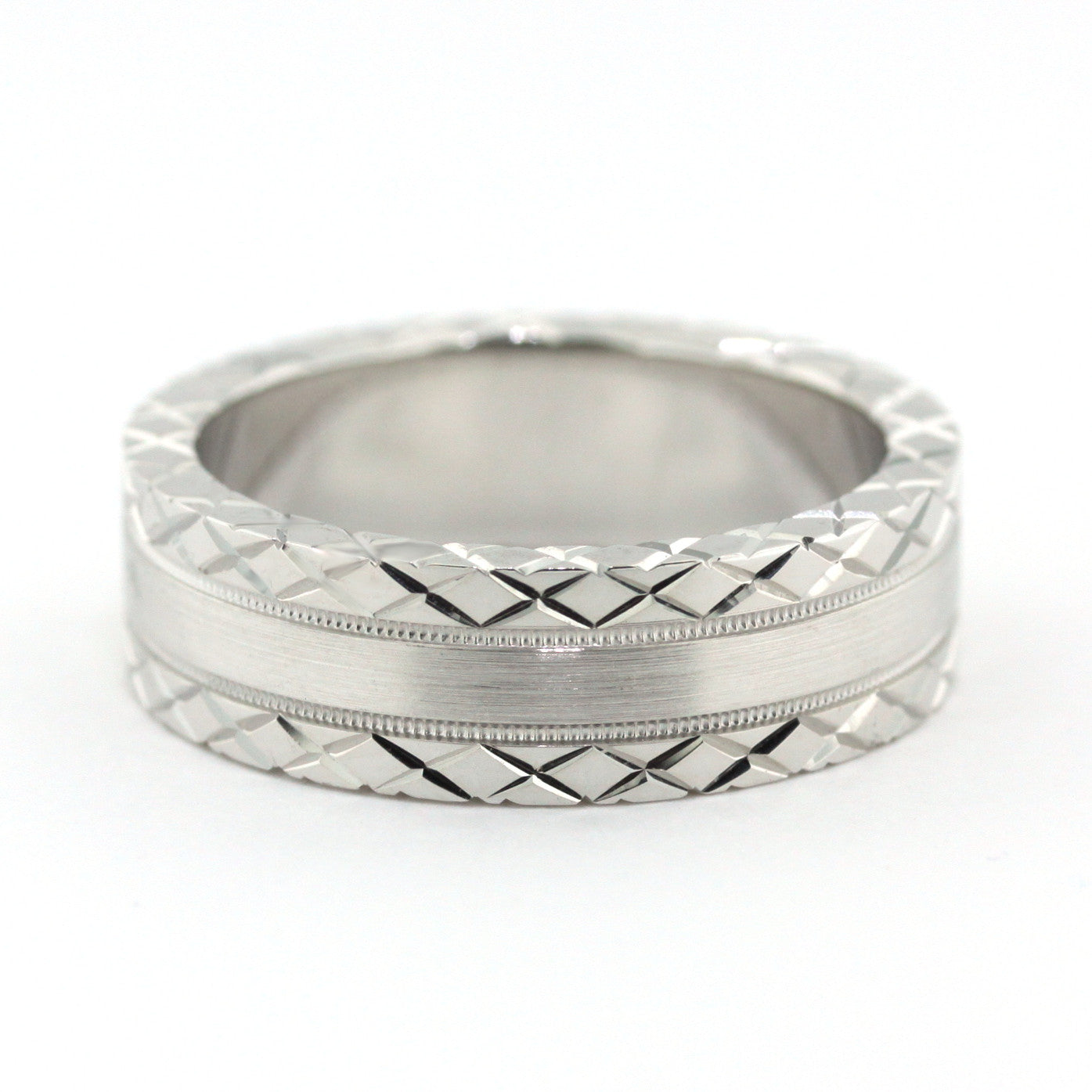 Men's Wedding Band - Sliced - Moissanite Rings