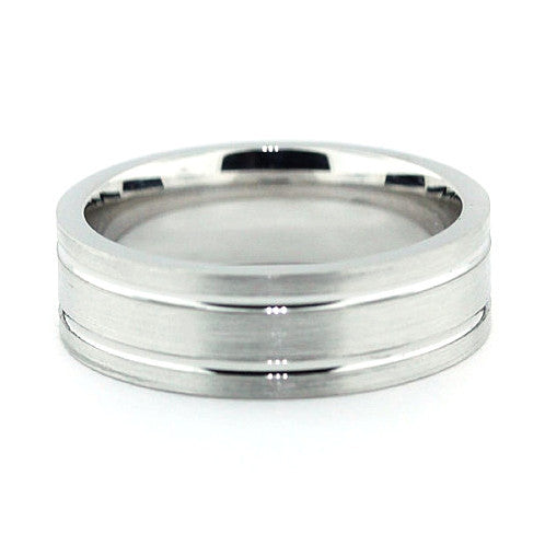 Men's Wedding Band - Double Line - Moissanite Rings