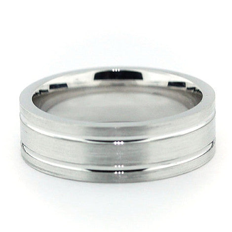 Men's Wedding Band - The Right Track - Moissanite Rings