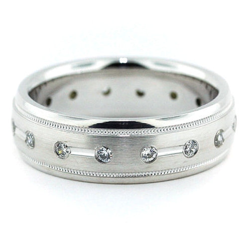 Millgrain Edge Men's Diamond  Wedding Band - Magnetic - Moissanite Rings
