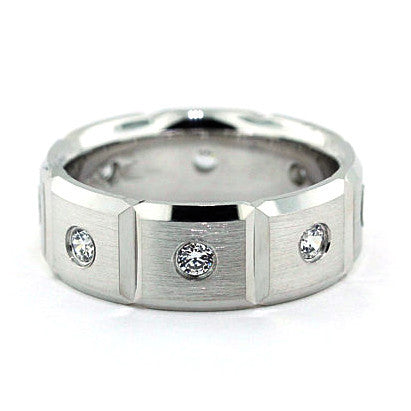 Men's Diamond Wedding Band - Boxed - Moissanite Rings