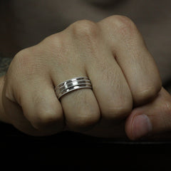 Men's Wedding Band - Hun - Moissanite Rings