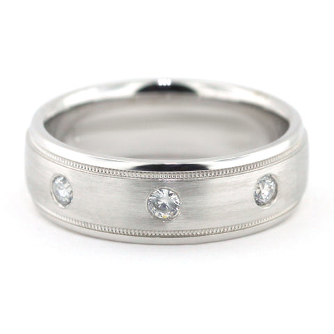 Men's Diamond Wedding Band - Tres - Moissanite Rings
