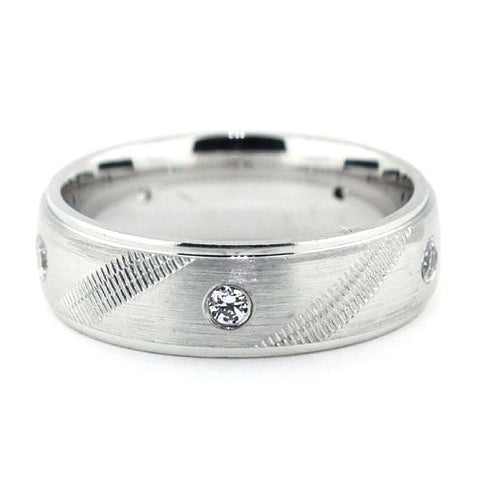 Men's Diamond  Wedding Band - Bases Loaded - Moissanite Rings