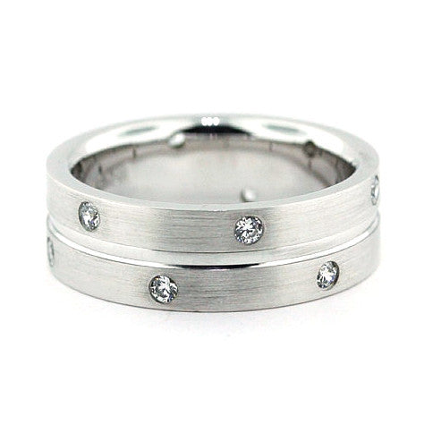 Men's Diamond  Wedding Band - Double Diamond - Moissanite Rings
