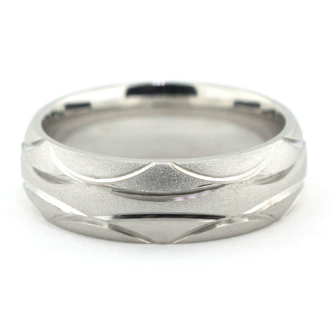 Men's Wedding Band - Waves - Moissanite Rings